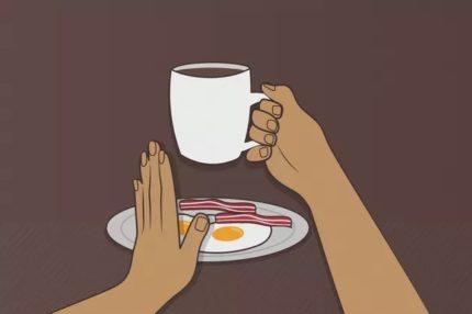 Deciding on coffee at breakfast
