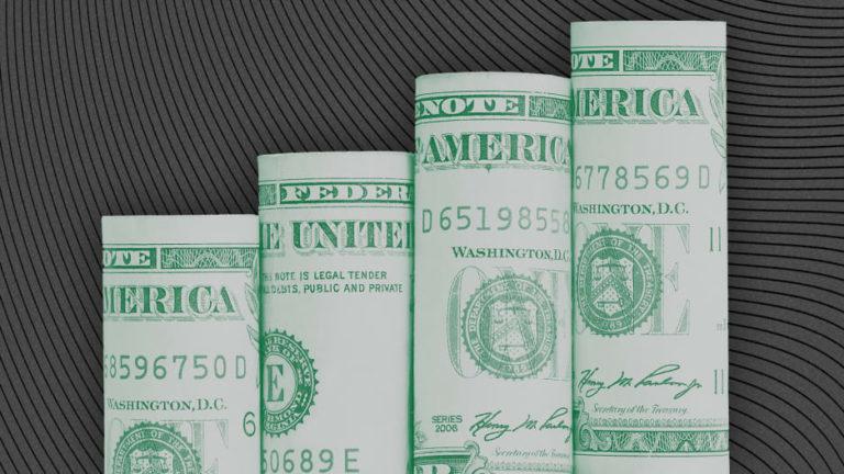 Graph made from dollar bills