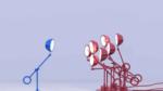 Blue lamp facing red lamps