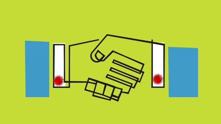 Graphic business deal handshake