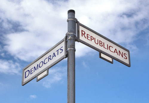 Political party street sign