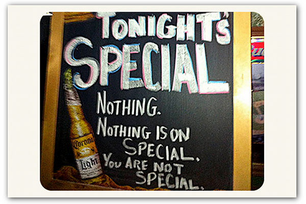 Special bar sign